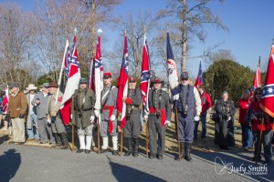 Jan 17, 2015: Edmund Ruffin Fire Eaters Color Guard at the Lee-Jackson Day service on Saturday at Stonewall Jackson Cemetery.